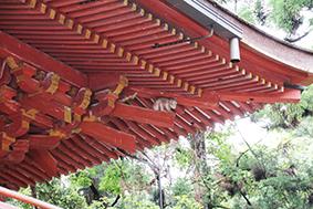 西本宮楼門の屋根下の、棟持猿(むなもちざる)も奉納を見守っています