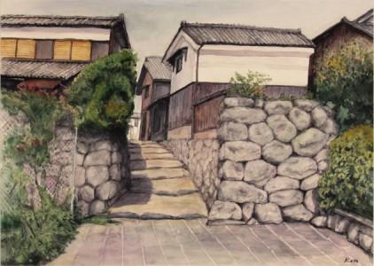 續木健二さん『湖辺への道(堅田)』(絵画)