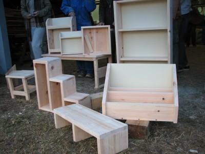 完成した木工作品群