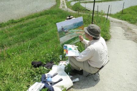 風景画制作中の永江先生