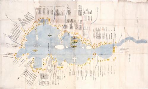 《琵琶湖周辺所領石高明細図》江戸時代前期 松井善和蔵